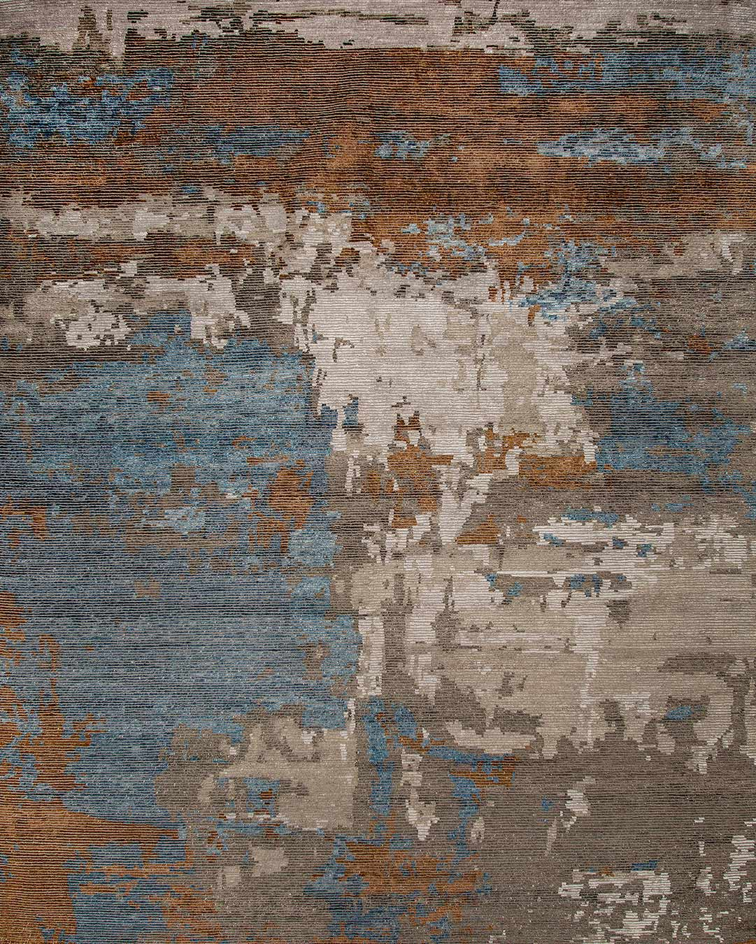 Overhead image of abstract Porcelain rug in blue and bronze colour