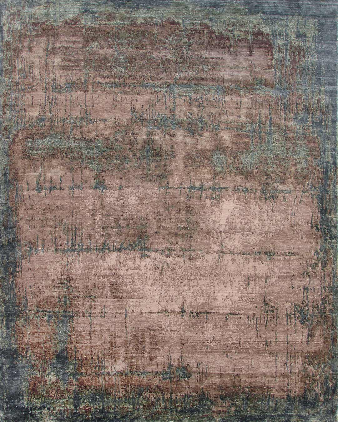 Overhead image of distressed Portia rug in pink colour