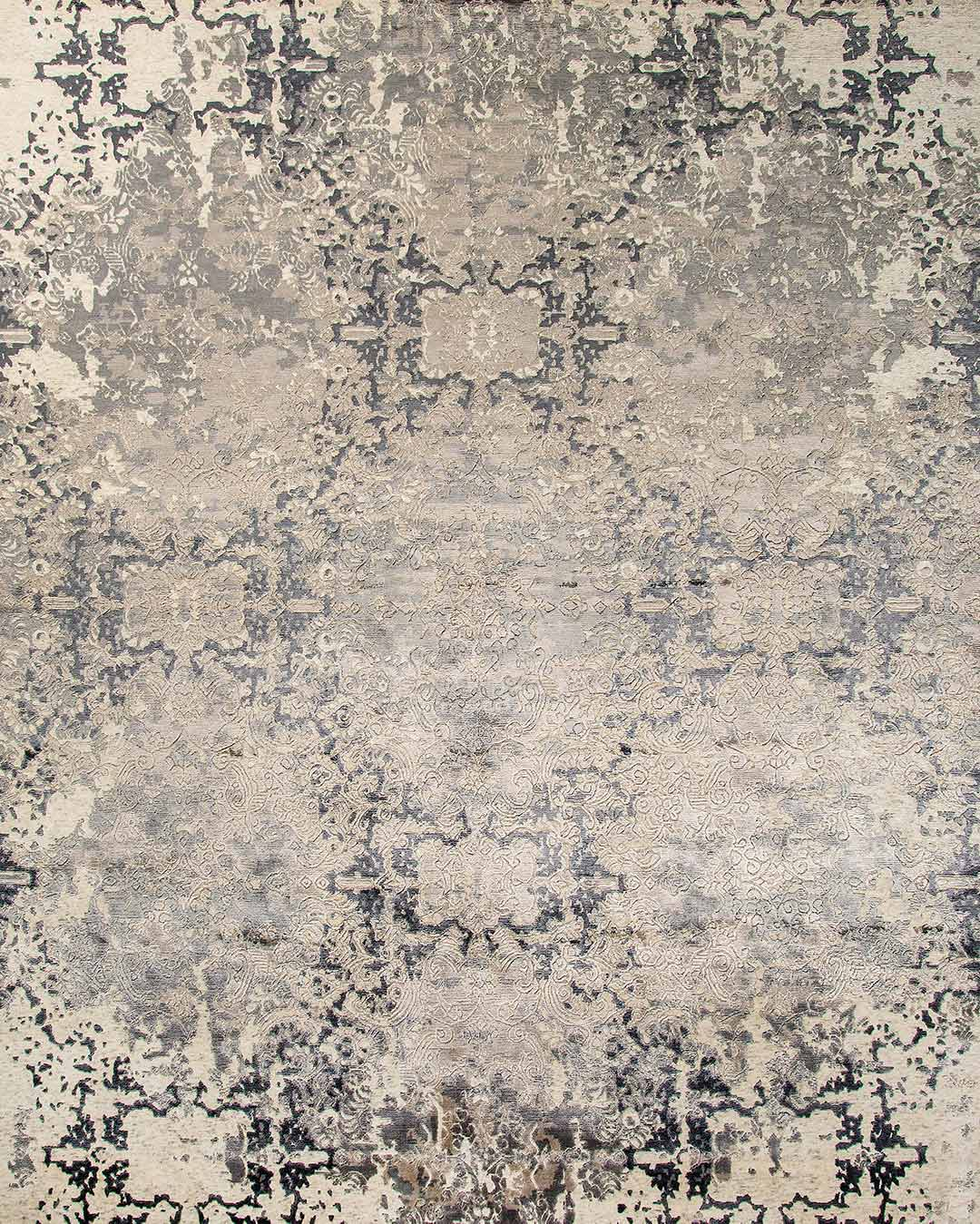 Overhead image of traditional Prudence rug in grey and beige colour