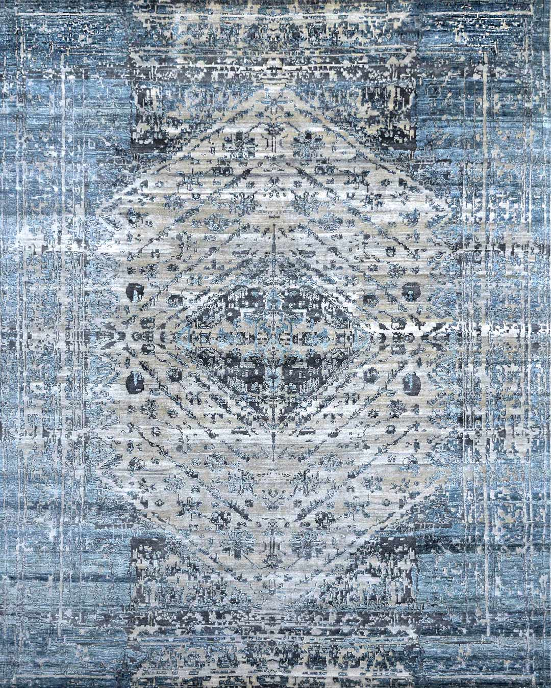 Overhead image of traditional Sapphire rug in blue colour