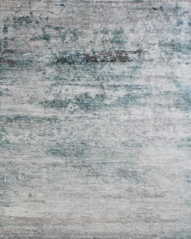 Overhead image of distressed Seamist rug in blue colour