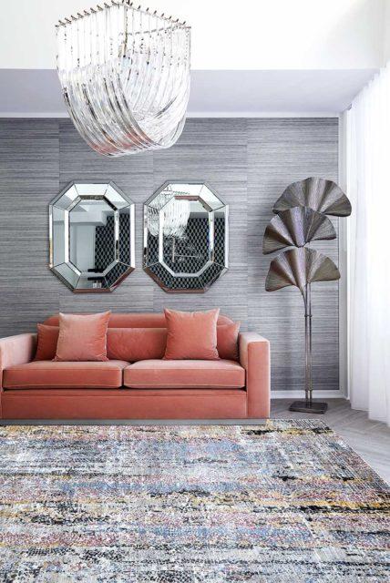 Living room image of distressed Skye rug in purple and pink