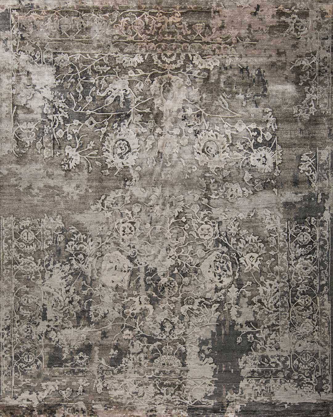 Overhead image of traditional Taurus rug in brown colour