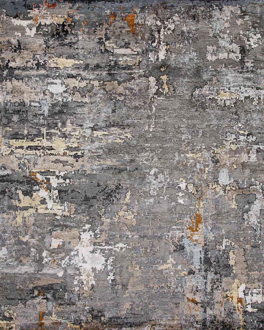 Overhead image of Turmeric rug in grey