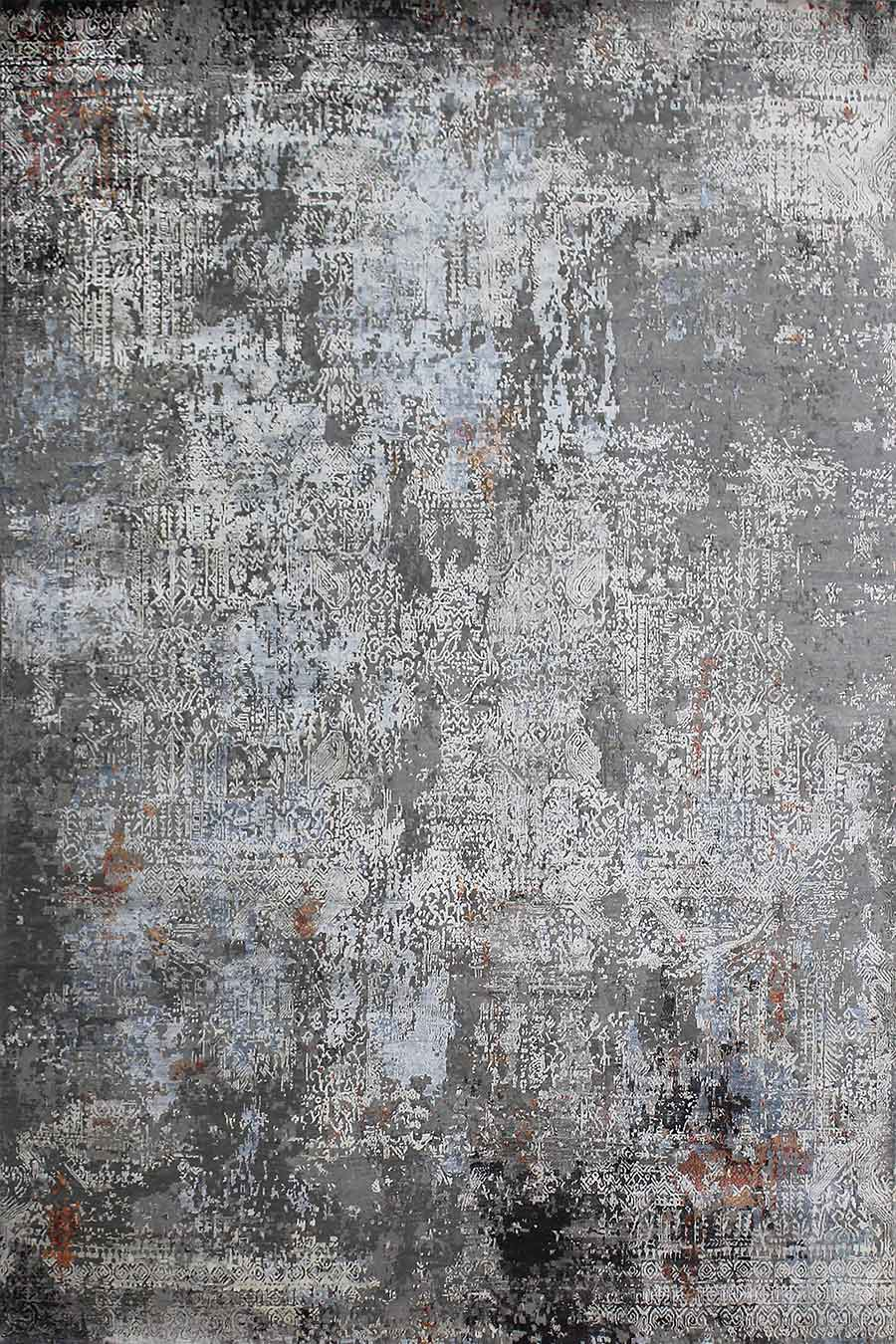 Product image of distressed Tusk handknot rug in grey