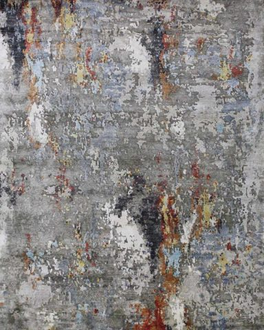 Overhead image of abstract Valencia rug in grey