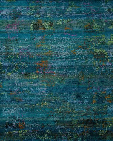 Overhead image of textured Zeus rug in teal colour