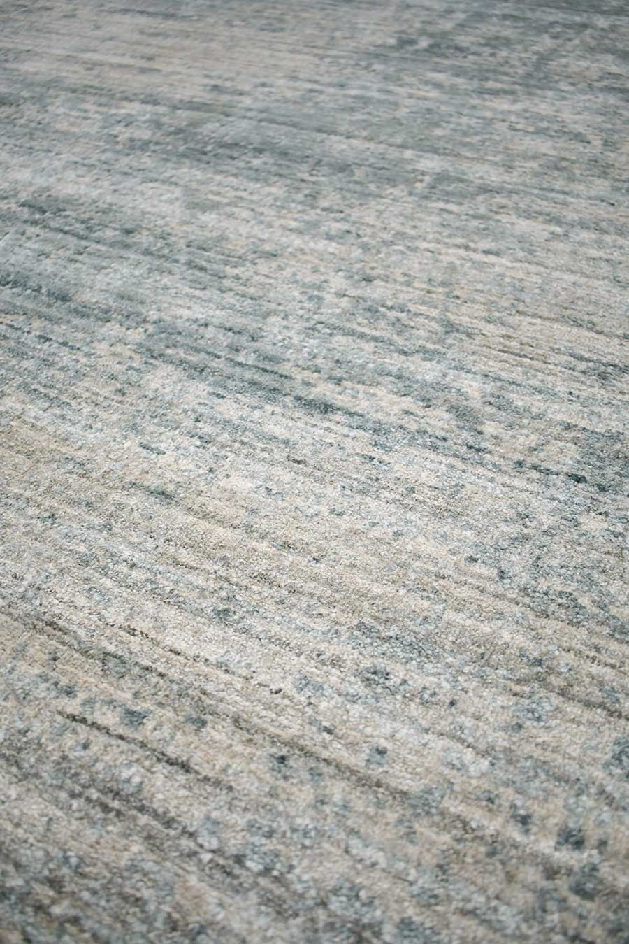 Detailed image of textural Wallace rug in blue beige colour