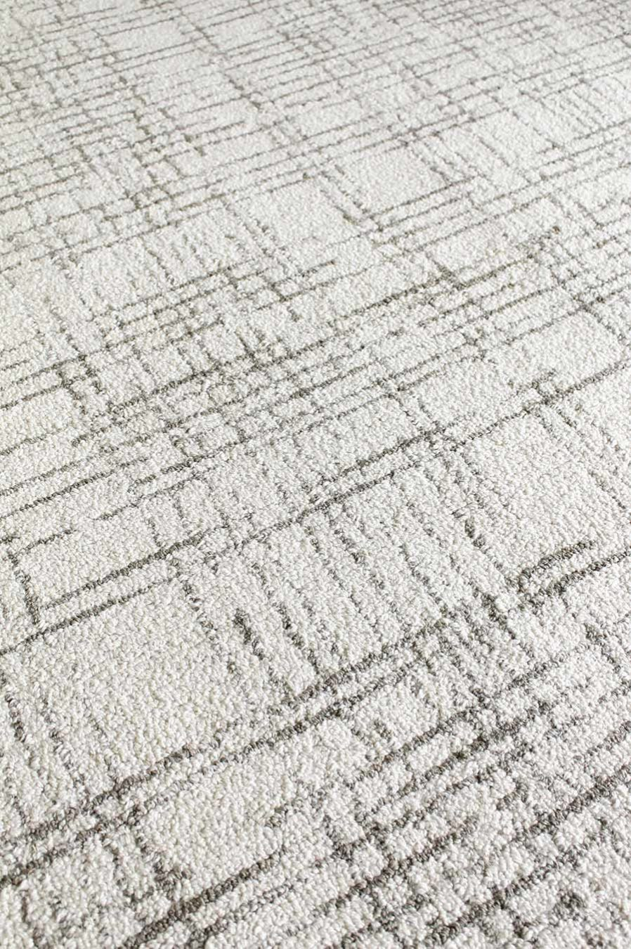 Detailed image of textured Burlap rug in white colour