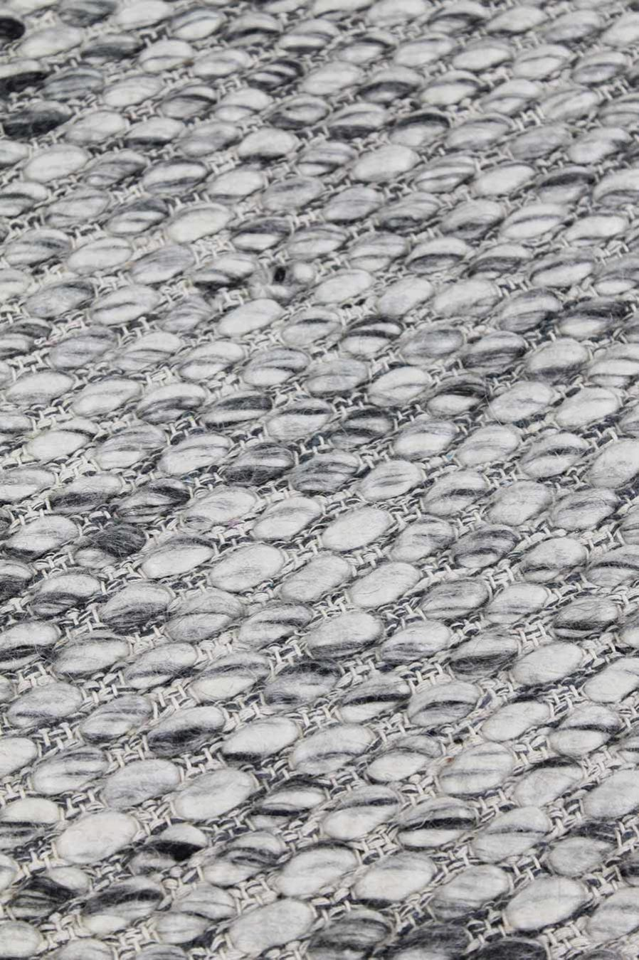 Detailed view of textured Cocos rug in grey colour
