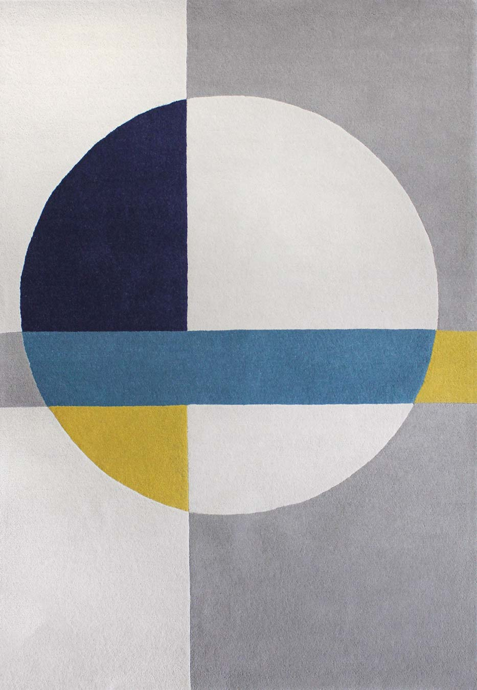 Overhead view of geometric Compass rug in blue and yellow colour