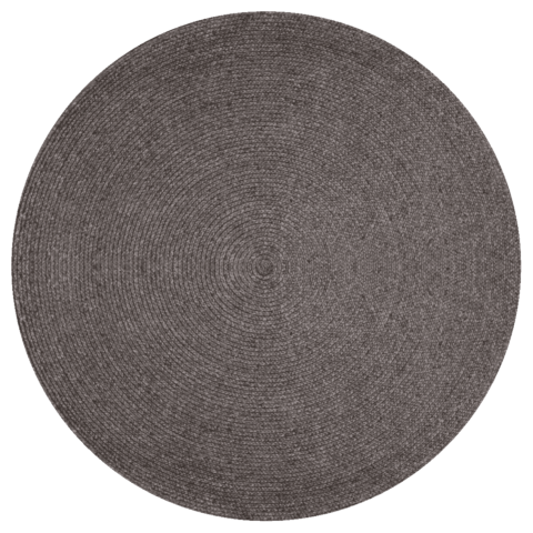 Overhead view of Glenmore round rug in charcoal colour