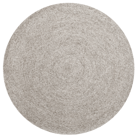 Overhead view of Glenmore round rug in silver colour