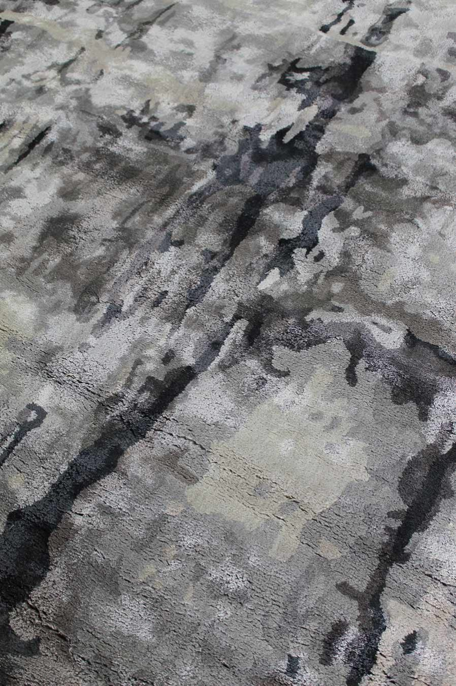 Detailed image of abstract Jupiter Rug in grey colour