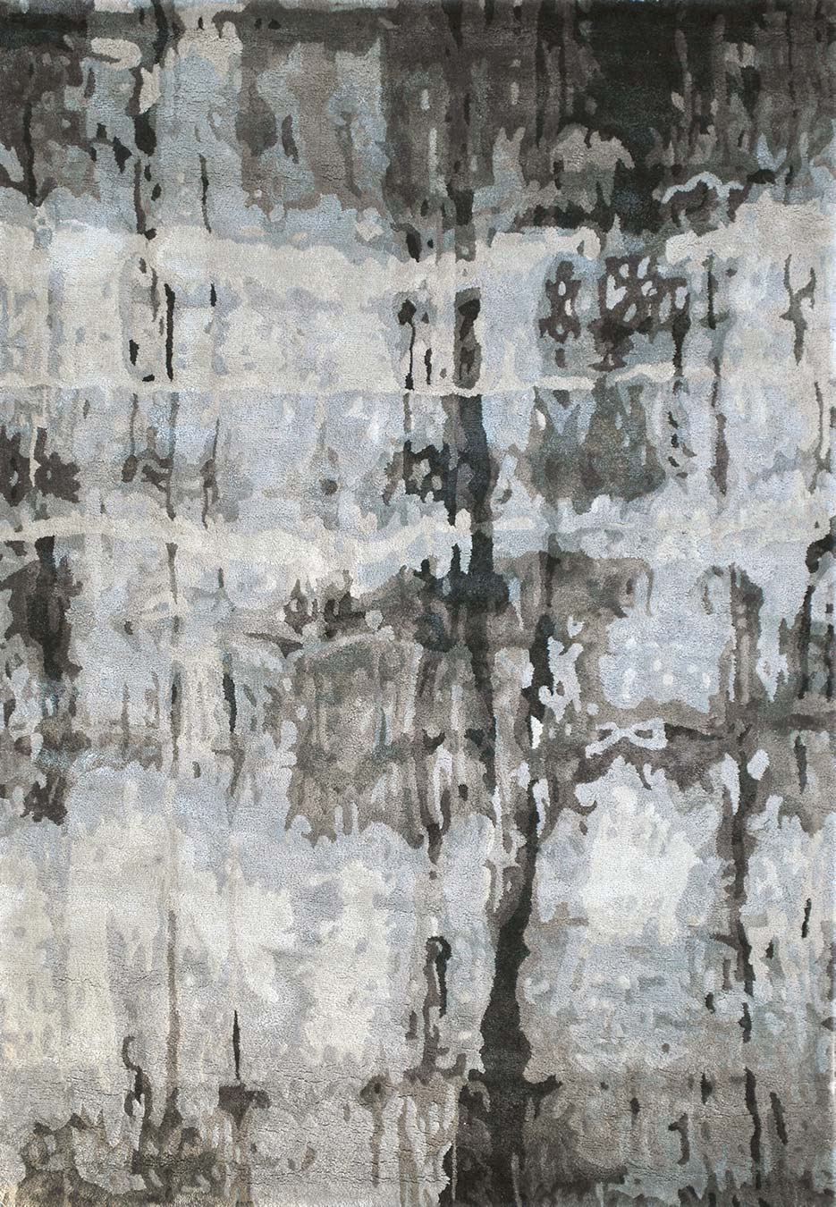 Overhead view of abstract Jupiter Rug in grey colour