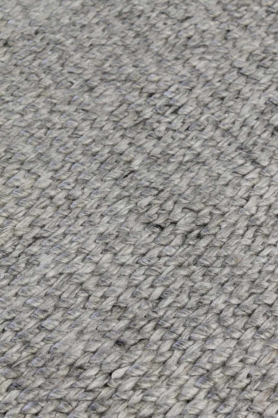 Close up view of textured Mabel rug in light grey colour