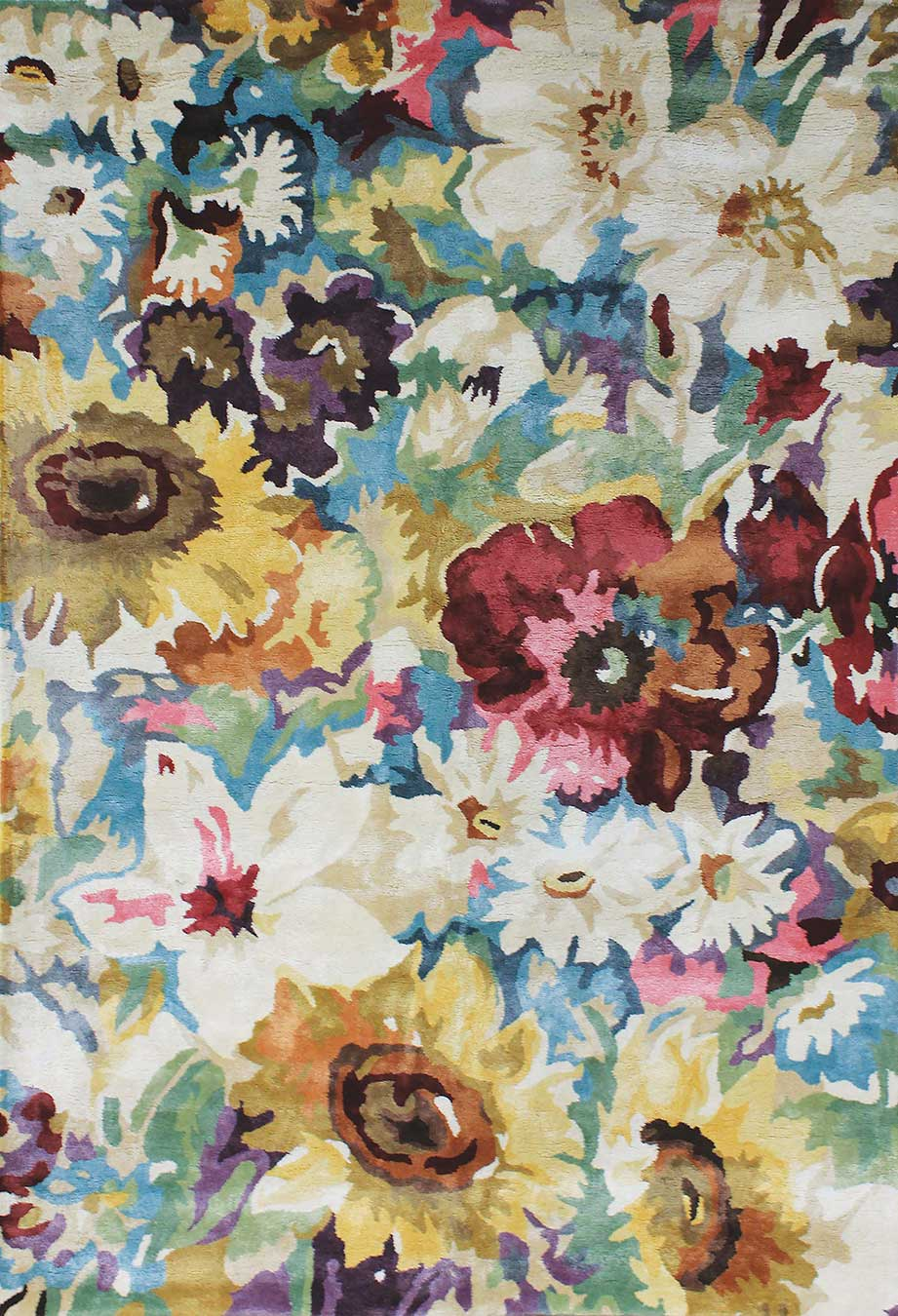 Overhead view of floral multicoloured Rendezvous rug