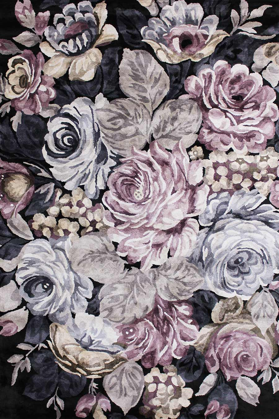 Overhead view of floral Rendezvous rug in pink and purple colour