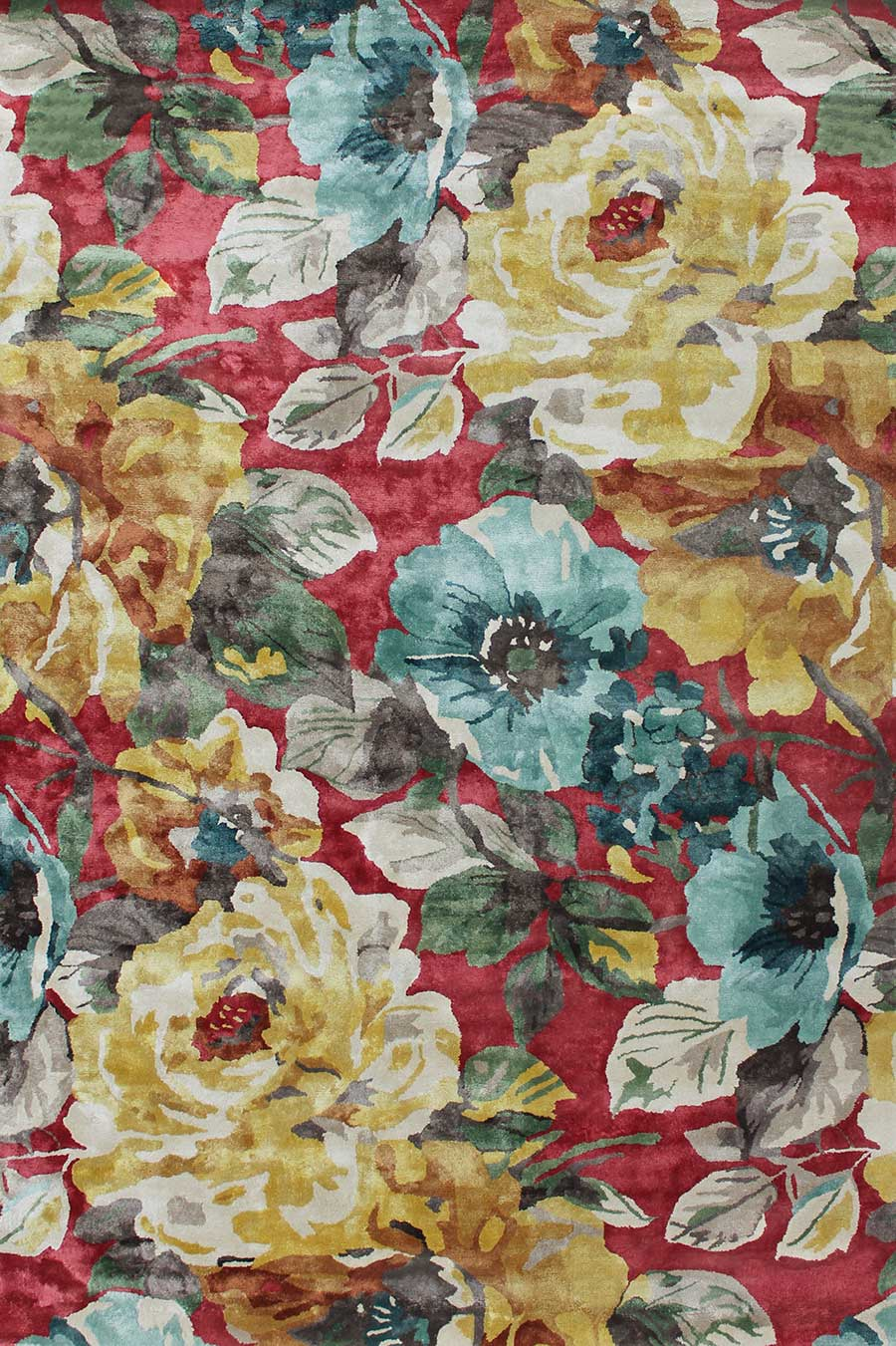 Overhead view of floral Rendezvous rug in red and yellow colour