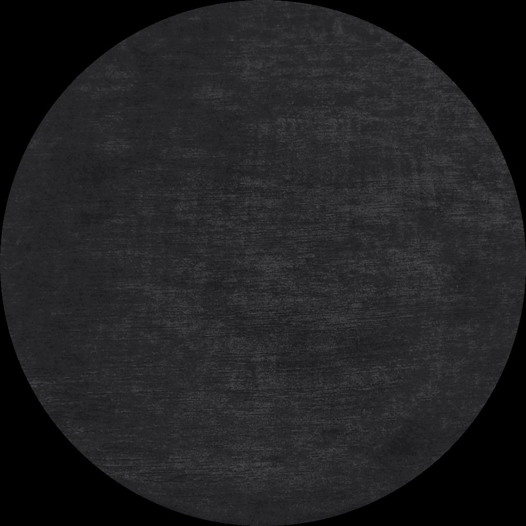Overhead view of circular Shroud rug in black colour