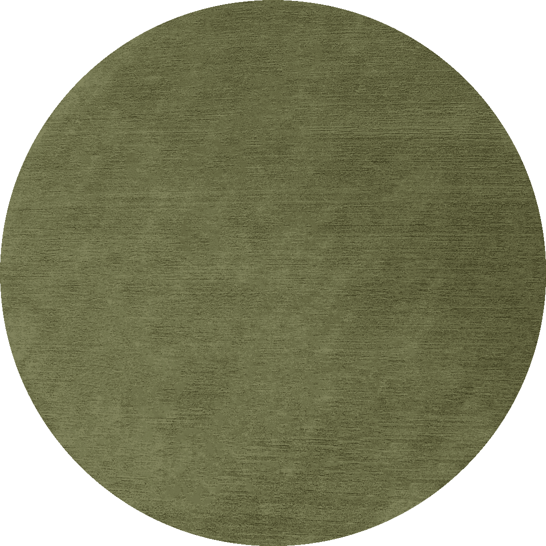 Overhead view of circular Shroud rug in olive green colour