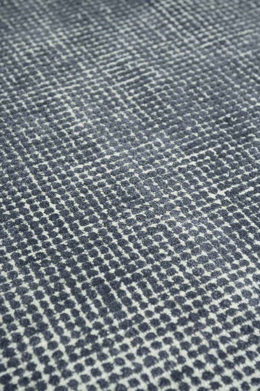 Detailed view of textured Sorrento rug in denim blue colour