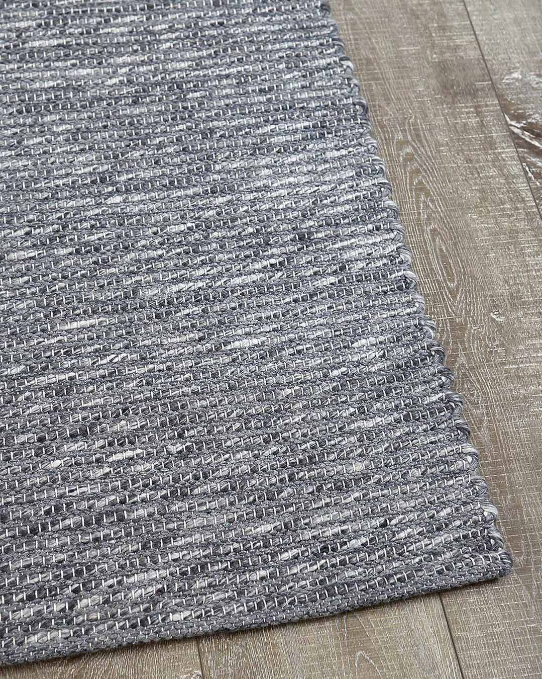 Detailed view of textured Stylo rug in dark grey colour
