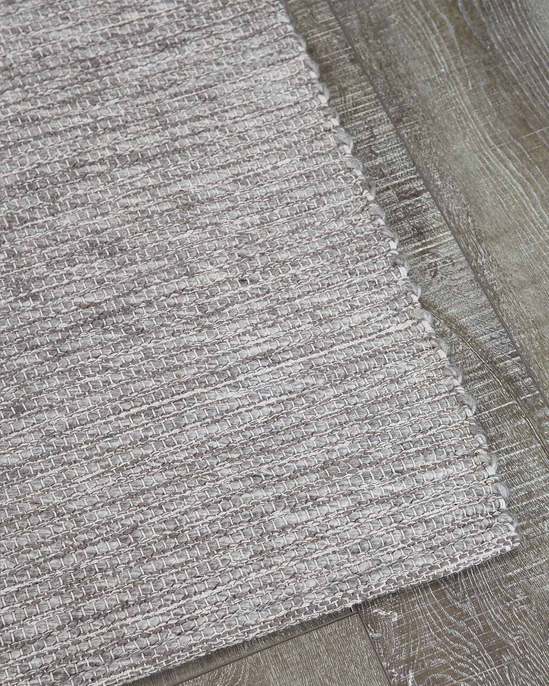 Detailed view of textured Stylo rug in light grey colour