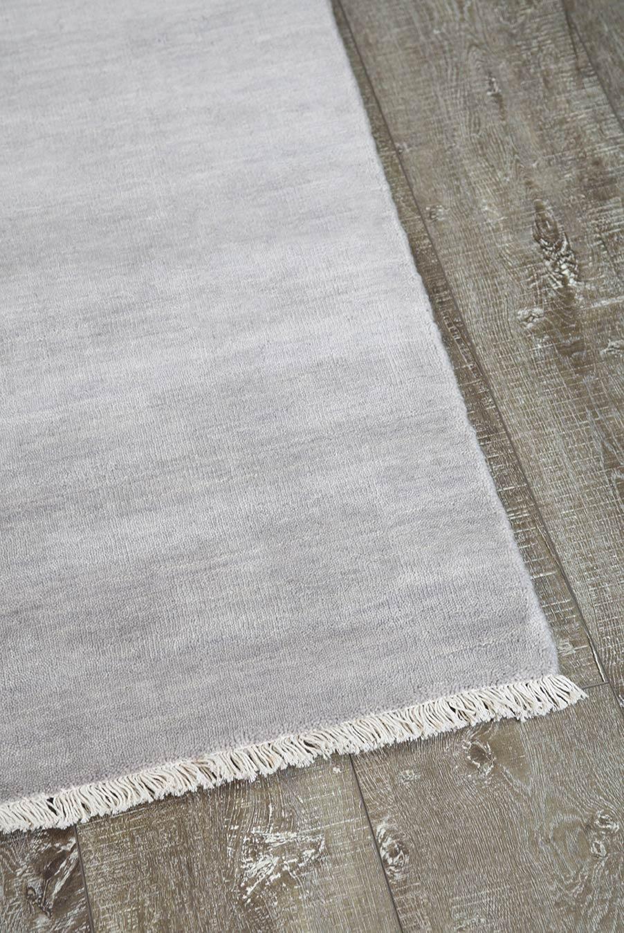 Overhead view of textured Zen rug in light grey colour