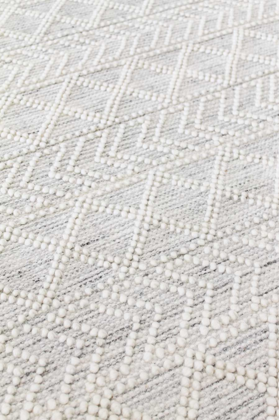 Detailed view of patterned Zinc rug in cream colour