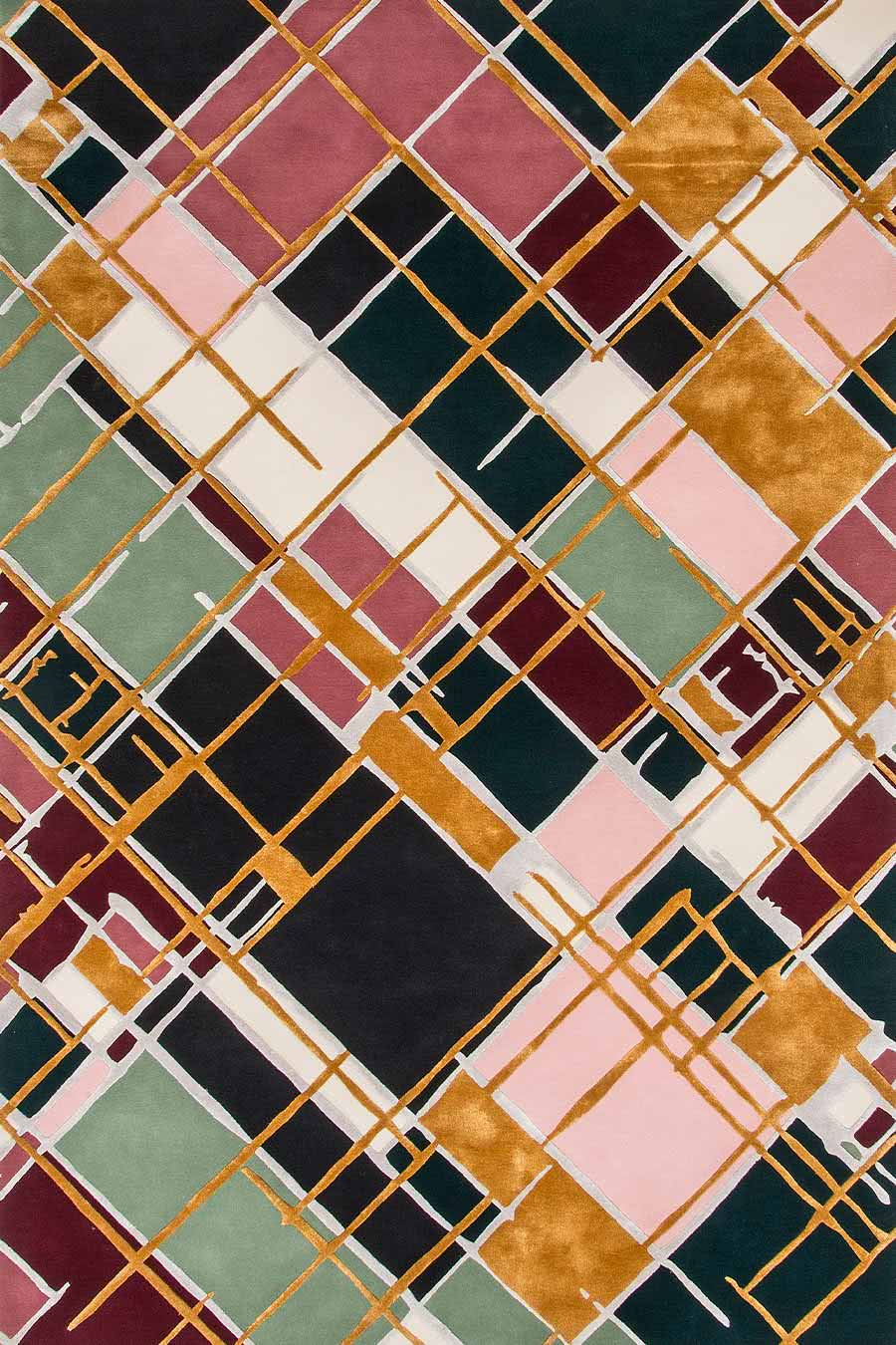 Modern Austin multi coloured rug with gold and pink accents