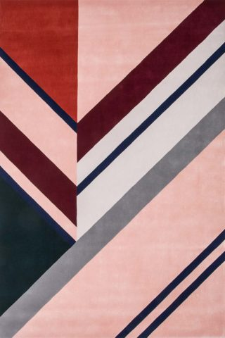 Detailed view of our geometric, modern and multicoloured Finch rug