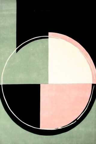 Detailed view of our modern and abstract Wilbur rug in stunning pink and green
