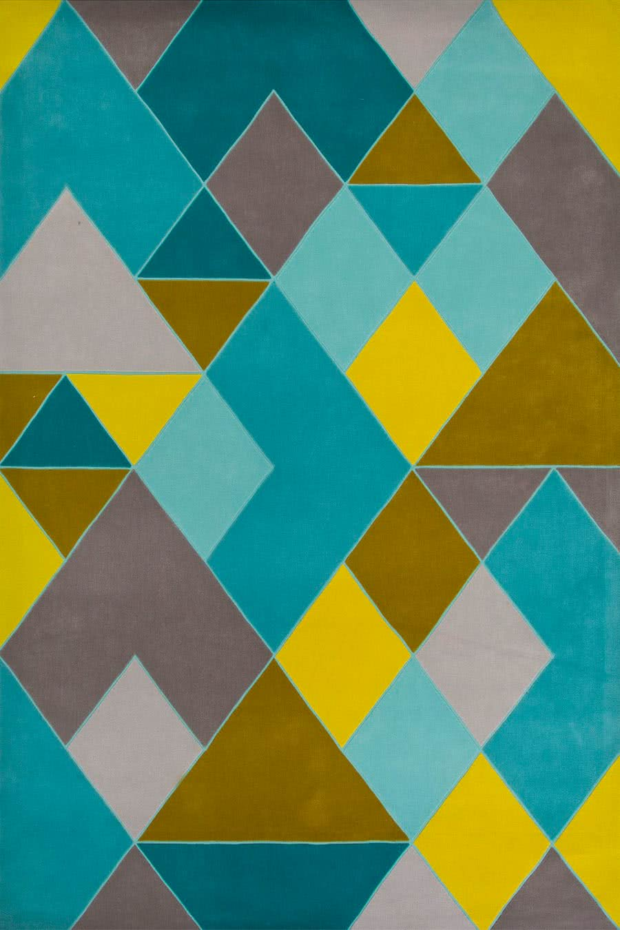 Detailed view of our geometric patterned Huxley rug in teal and yellow.
