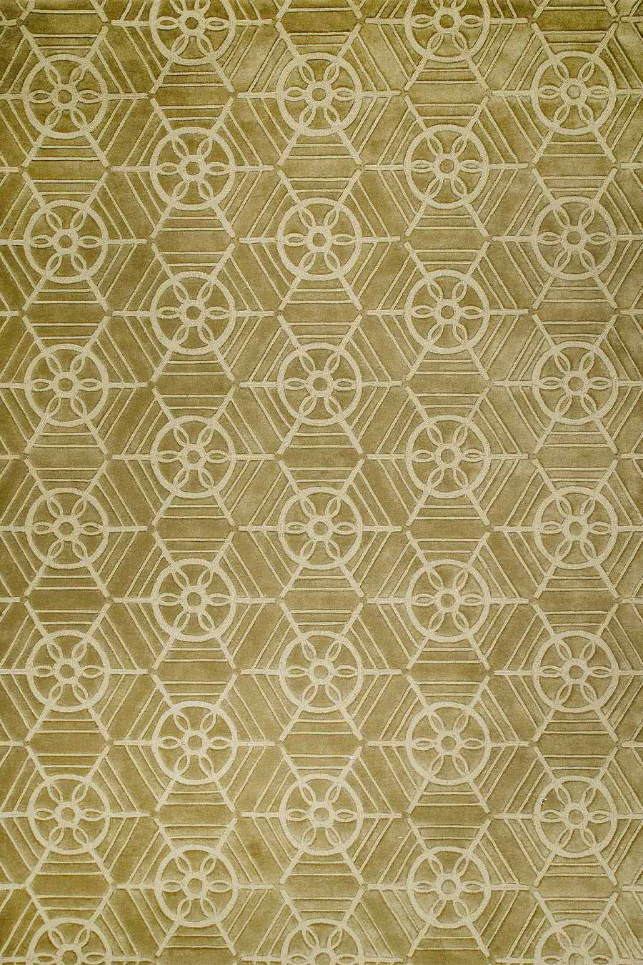 Overhead image of Empire, a classic, patterned rug in beige and brown