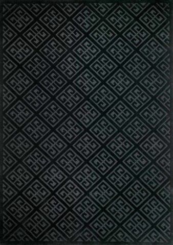 Detailed look at Keylock, a geometric patterned rug in black and charcoal