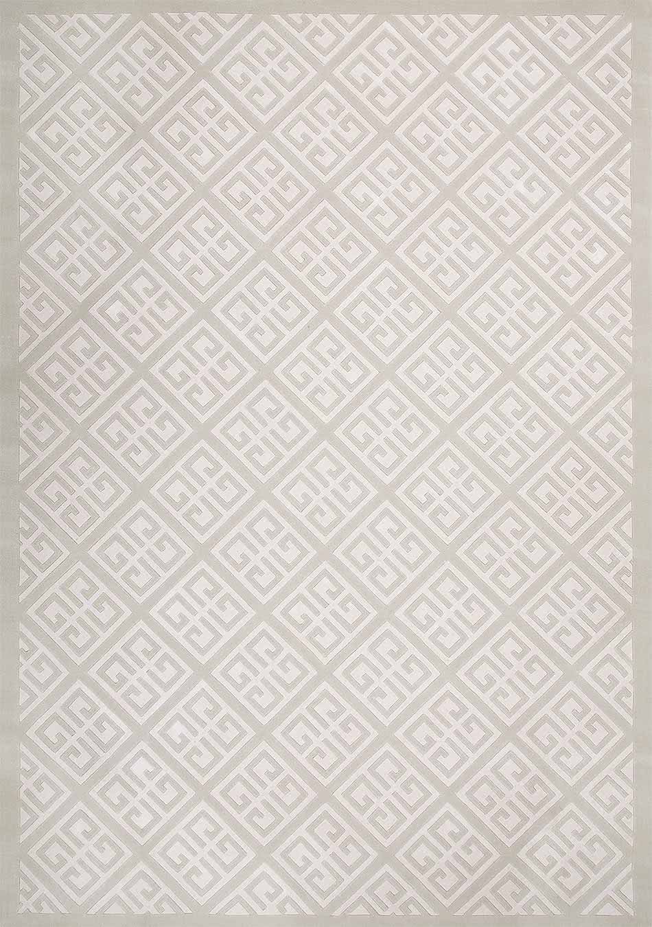 Detailed look at Keylock, a geometric patterned rug in beige and white