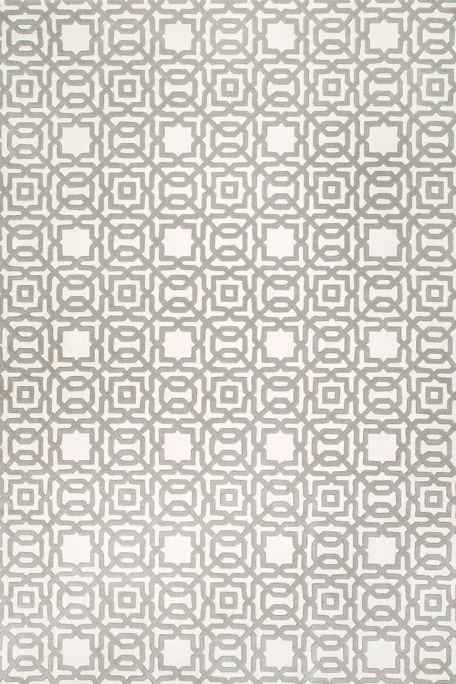 Overhead, detailed view of the classic, geometric patterns of our Leon rug un white and light grey