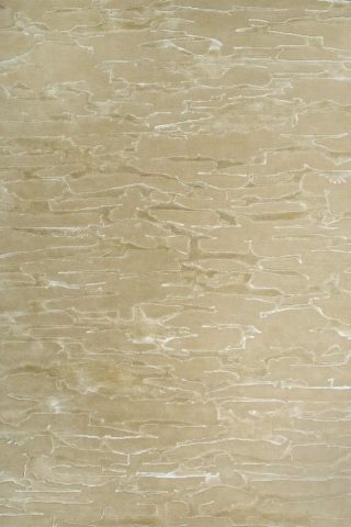 Overhead image of our organically patterned Rockface rug in beige