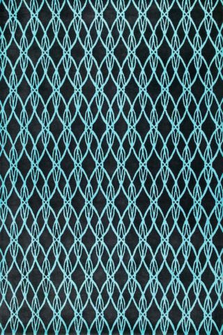 Detailed view of our geometrically patterned, art deco Spindle rug in blue and tealSpindle