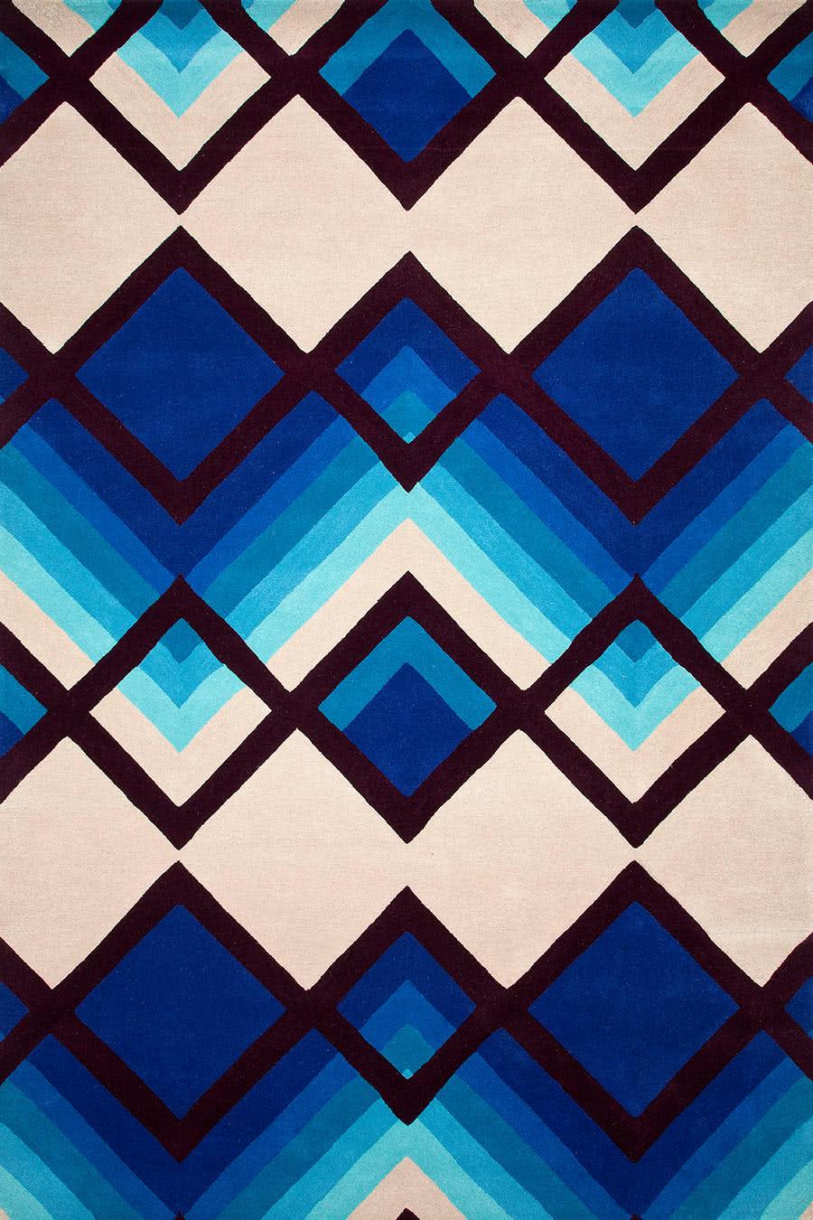 Aqua Ombre blue and beige overhead rug image
