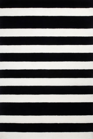 Chicago rug in black and white colourway overhead image