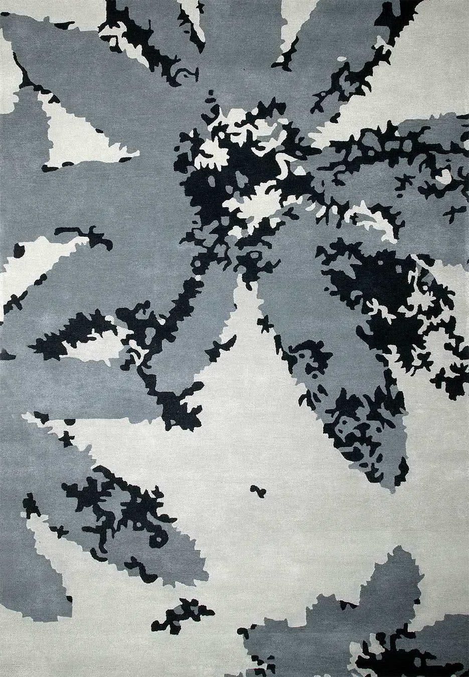 Digi Bloom rug in dark night colour overhead image