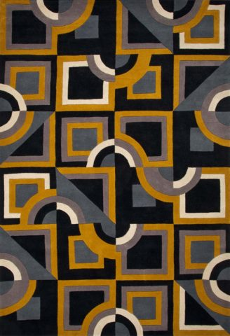 Discotheque rug in Mustard colour overhead image