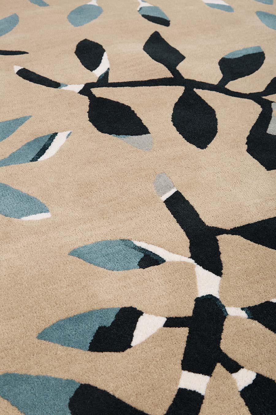 Close up image of botanical Fernery rug