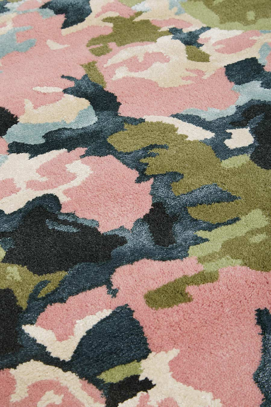 Close up image of pink Flower Market rug