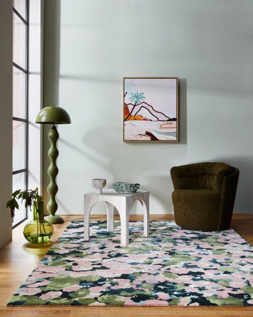 Styled image of pink Flower Market rug