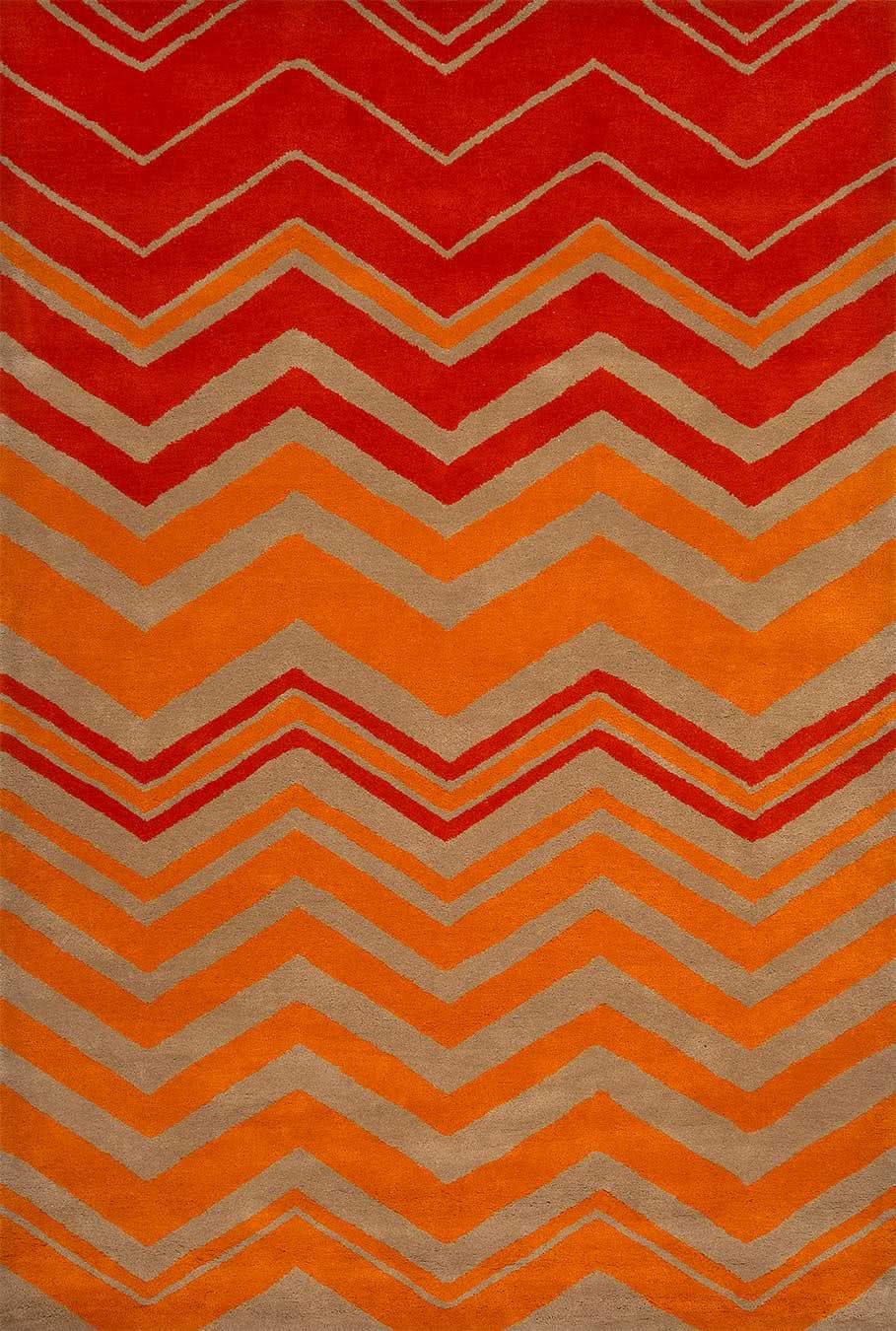 Harlem rug in Fanta colourway overhead image