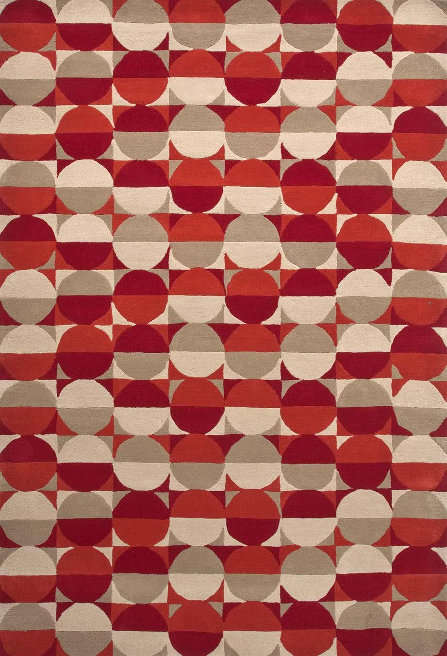 Hemisphere rug in Red colourway overhead image