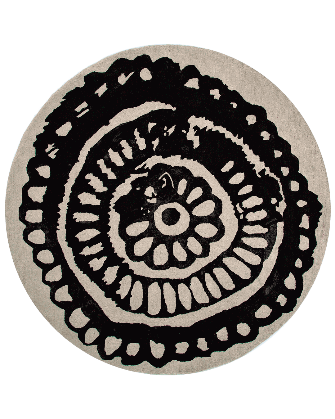 Overhead view of our organic, traditional Henna rug in grey